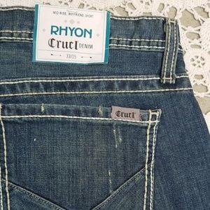 NWT Cruel Denim Rhyon MidRise Boyfrd Short Sz33/15